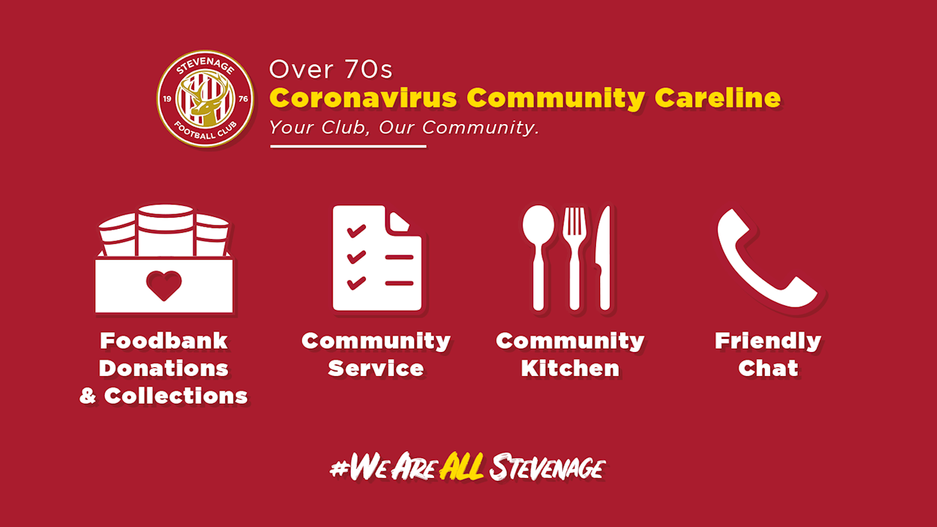 Stevenage FC Over 70s Coronavirus Community Careline No Number.png